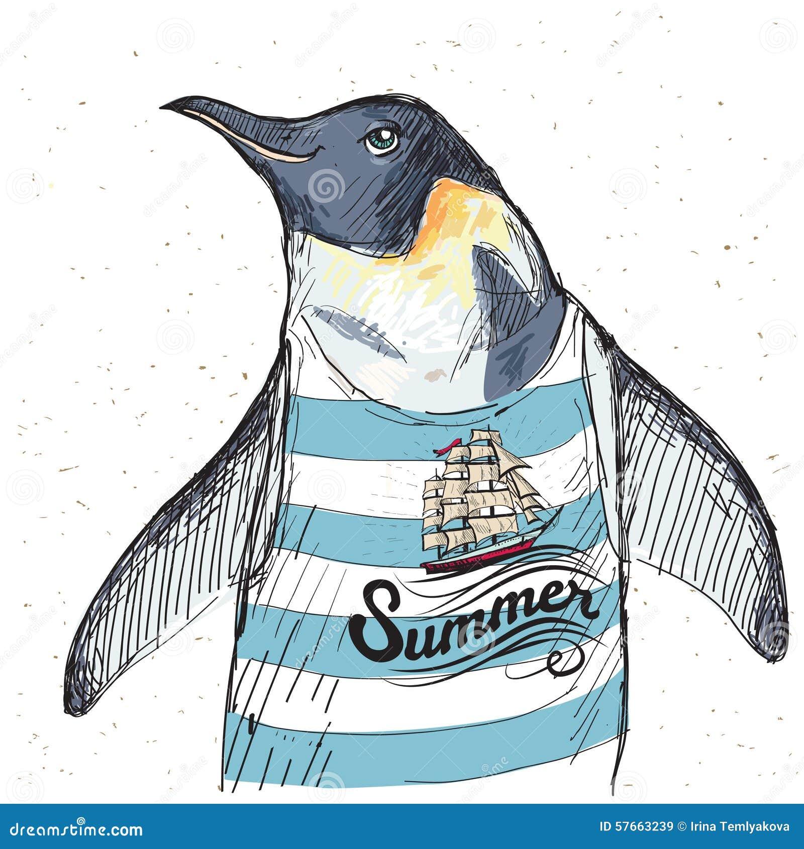 Ilustracja pirata pingwin na textured tle w wektorze