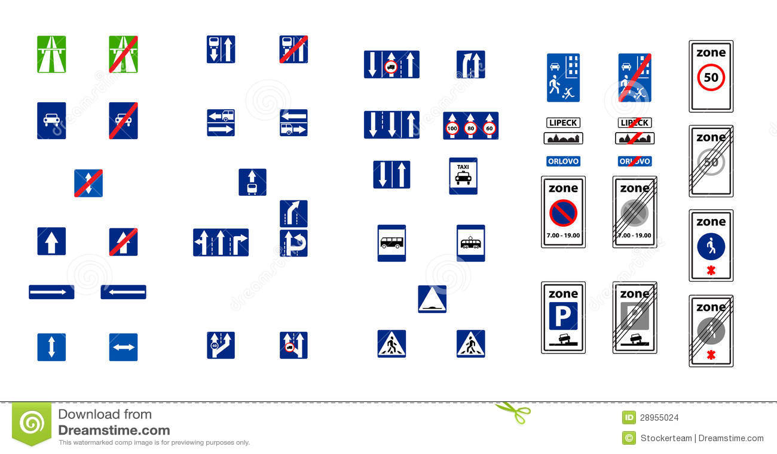 Ilustracja prostokątów błękitni drogowi znaki