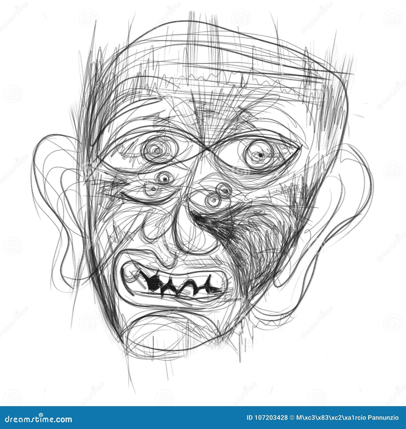 Ilustracja robić na pastylce przedstawia twarz ludzką