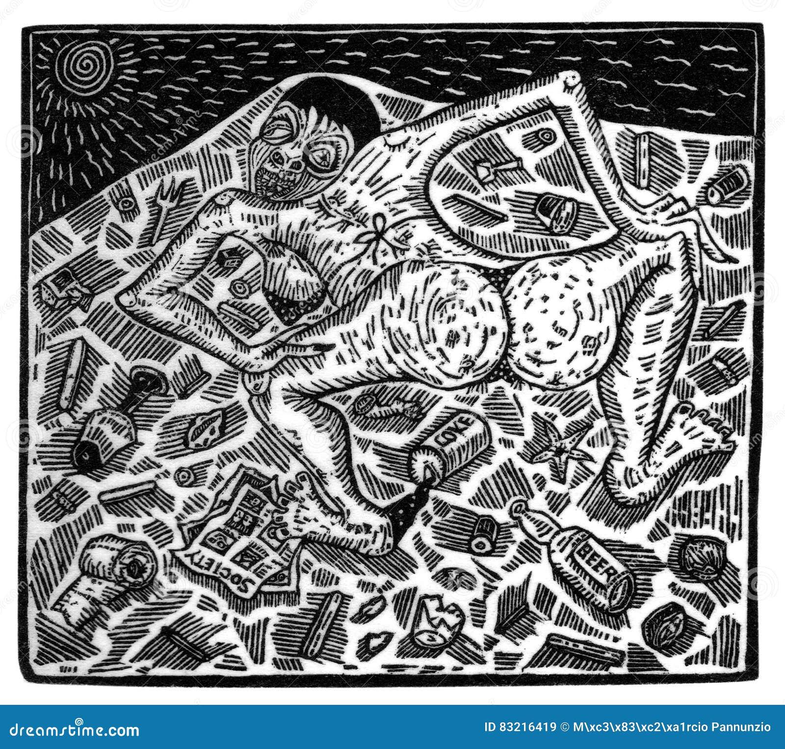 Ilustracja robić od drewnianego rytownictwa przedstawia scenę eksploatacja i niesprawiedliwość