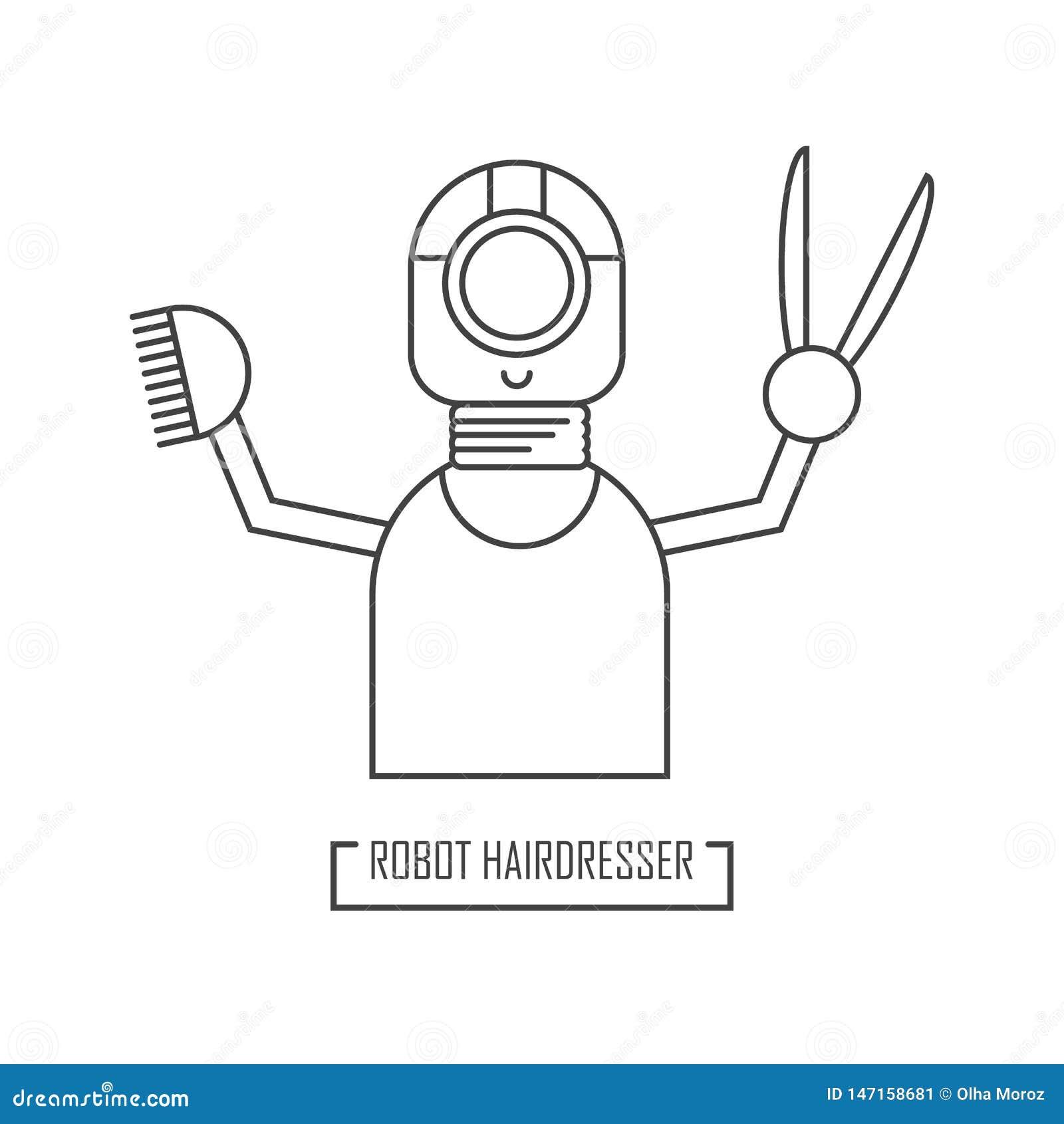 Ilustracja robota fryzjer Dla projekta nowożytny fryzjera męskiego sklep