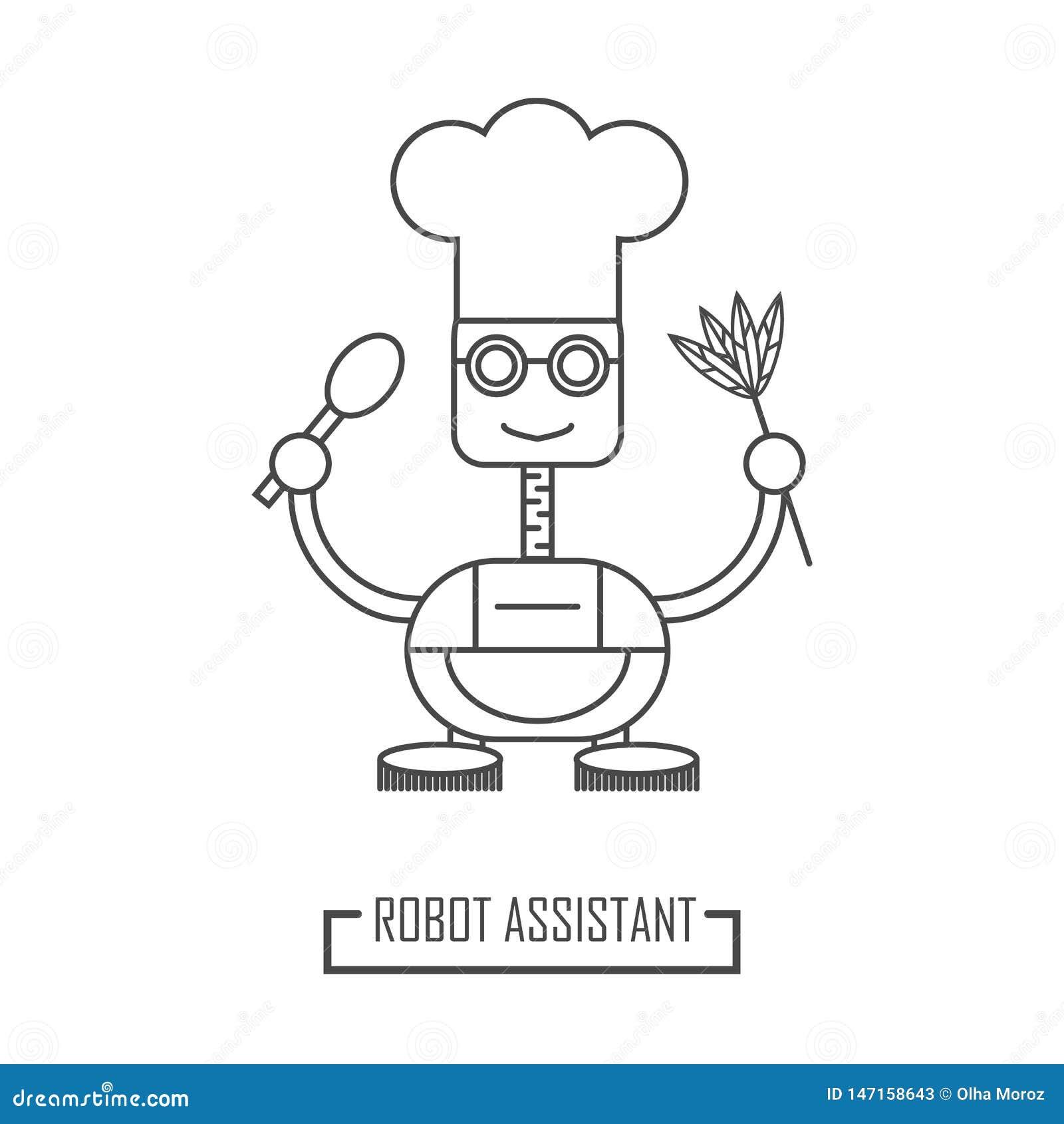 Ilustracja robota kucharz Mechaniczny asystent w kuchni