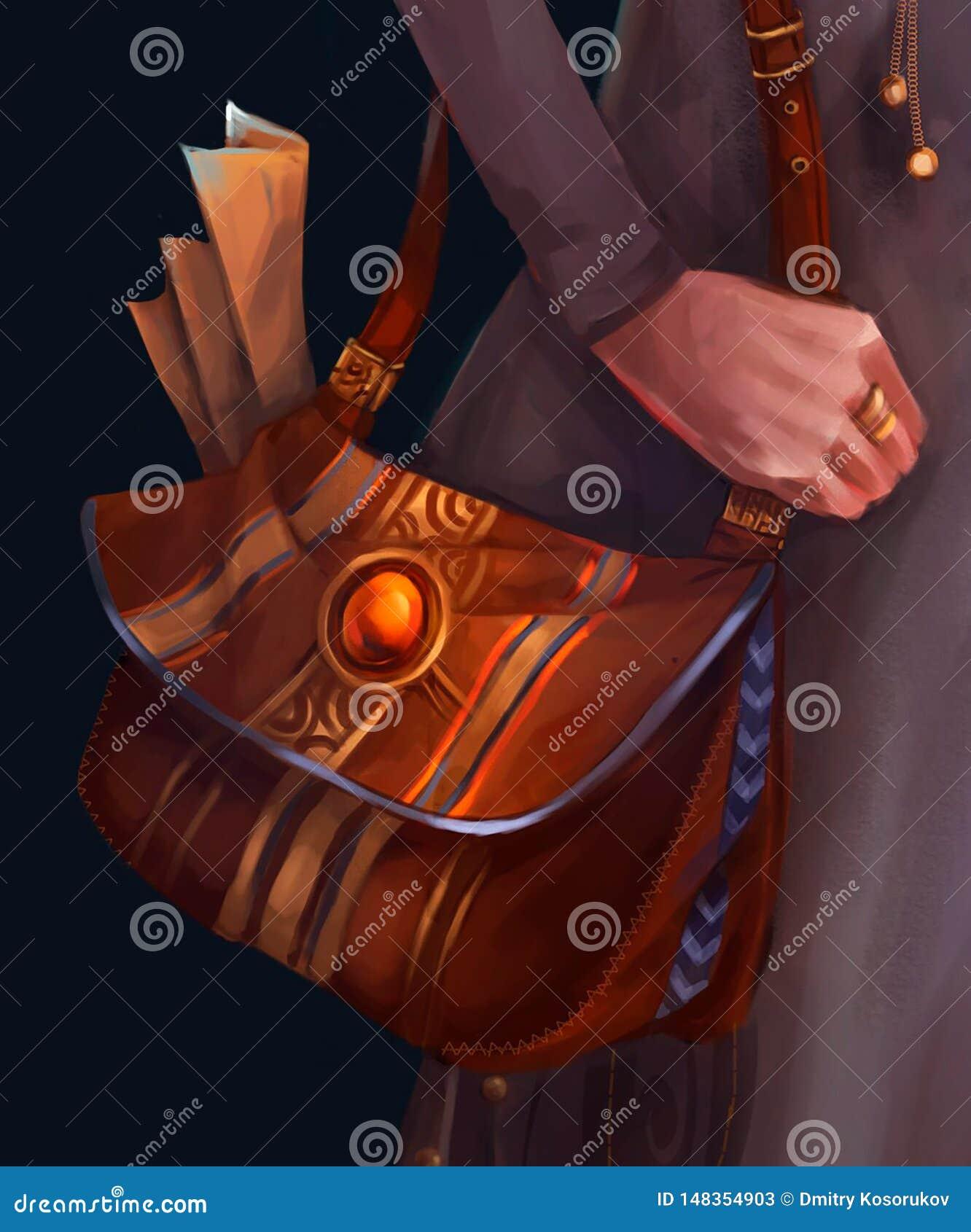 Ilustracja rzemienna kobiety torba