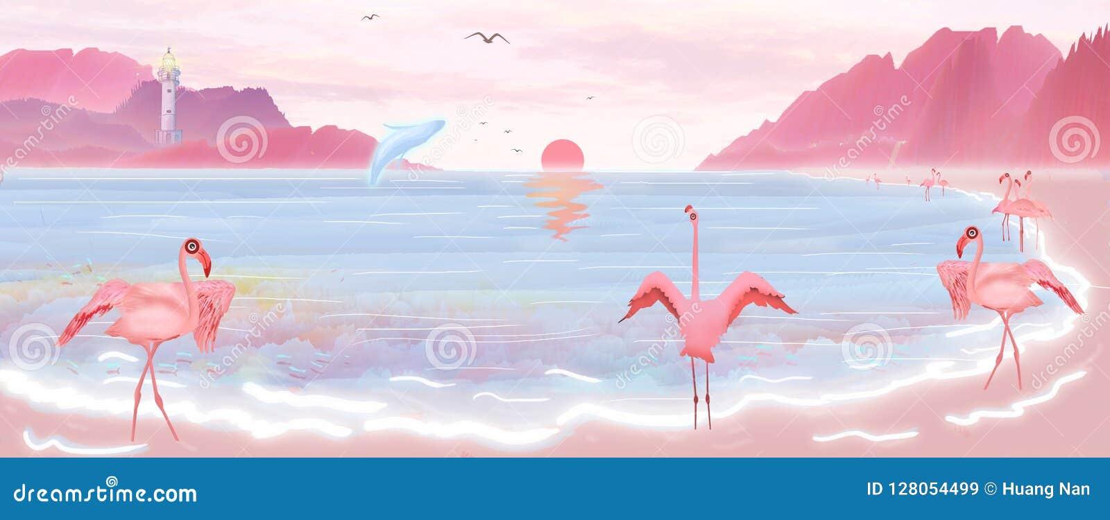 Ilustracja słońce wzrasta od morza, i flamingów i błękitnych wieloryby bawić się na plażach wyspa Hawaje
