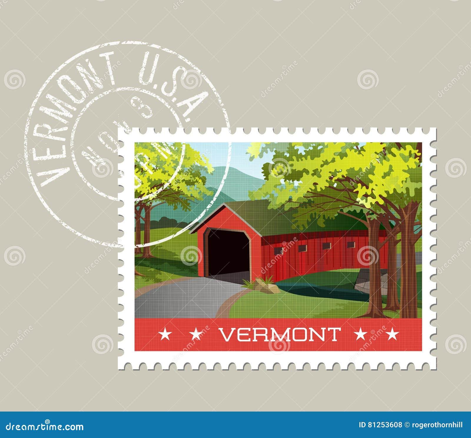 Ilustracja sceniczny zakrywający most nad strumieniem, Vermont