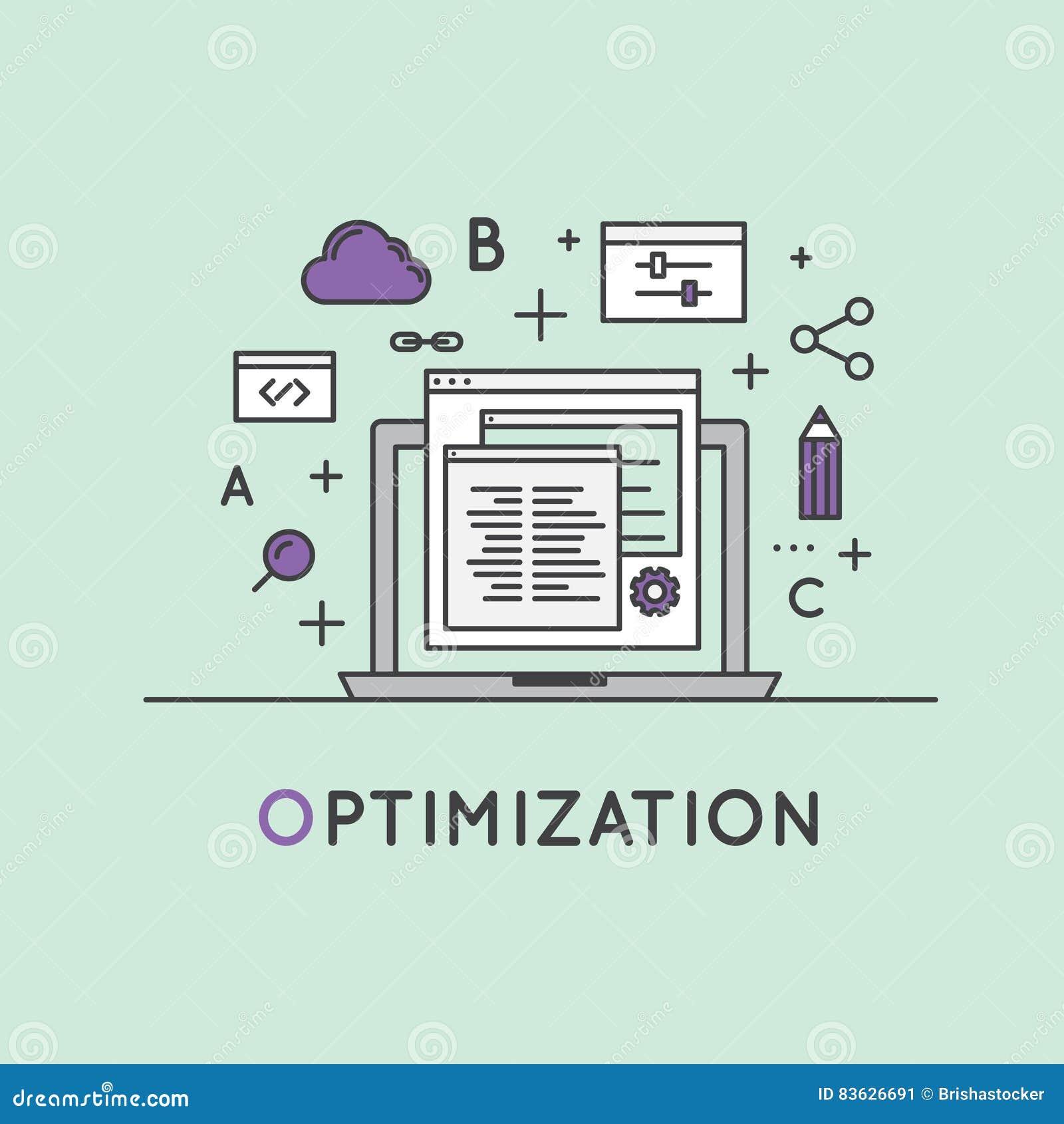 Ilustracja SEO wyszukiwarki optymalizacja proces