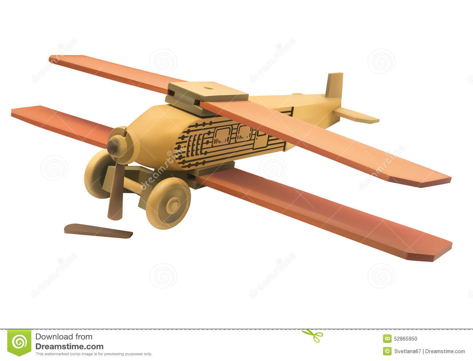 Ilustracja stary drewniany łamający zabawkarski samolot