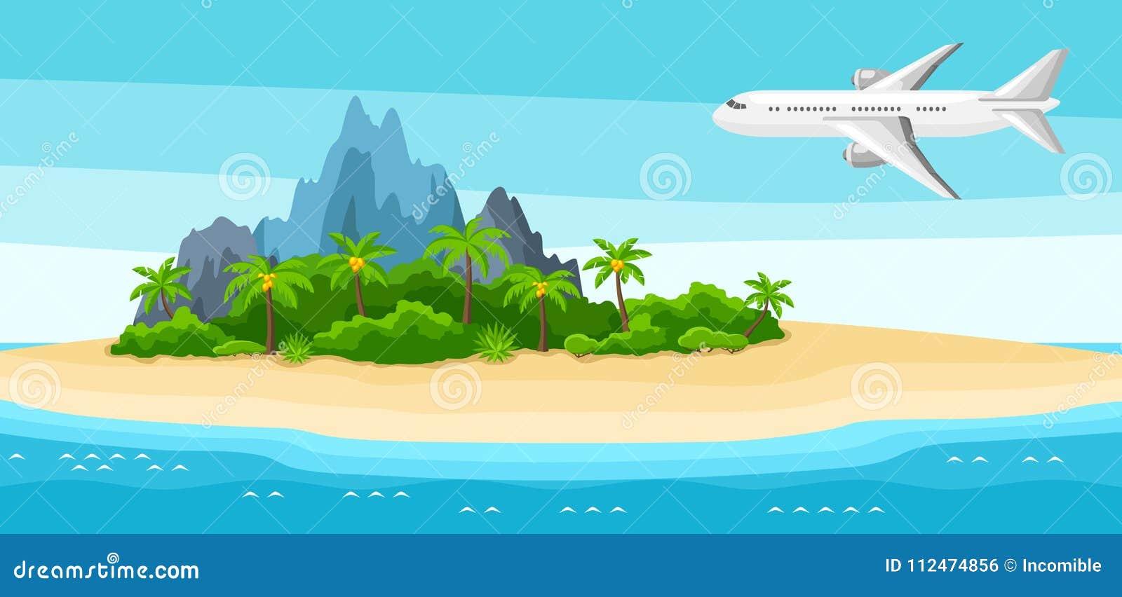 Ilustracja tropikalna wyspa w oceanie Krajobraz z samolotem, drzewkami palmowymi i skałami, tło portfolio więcej mój podróż