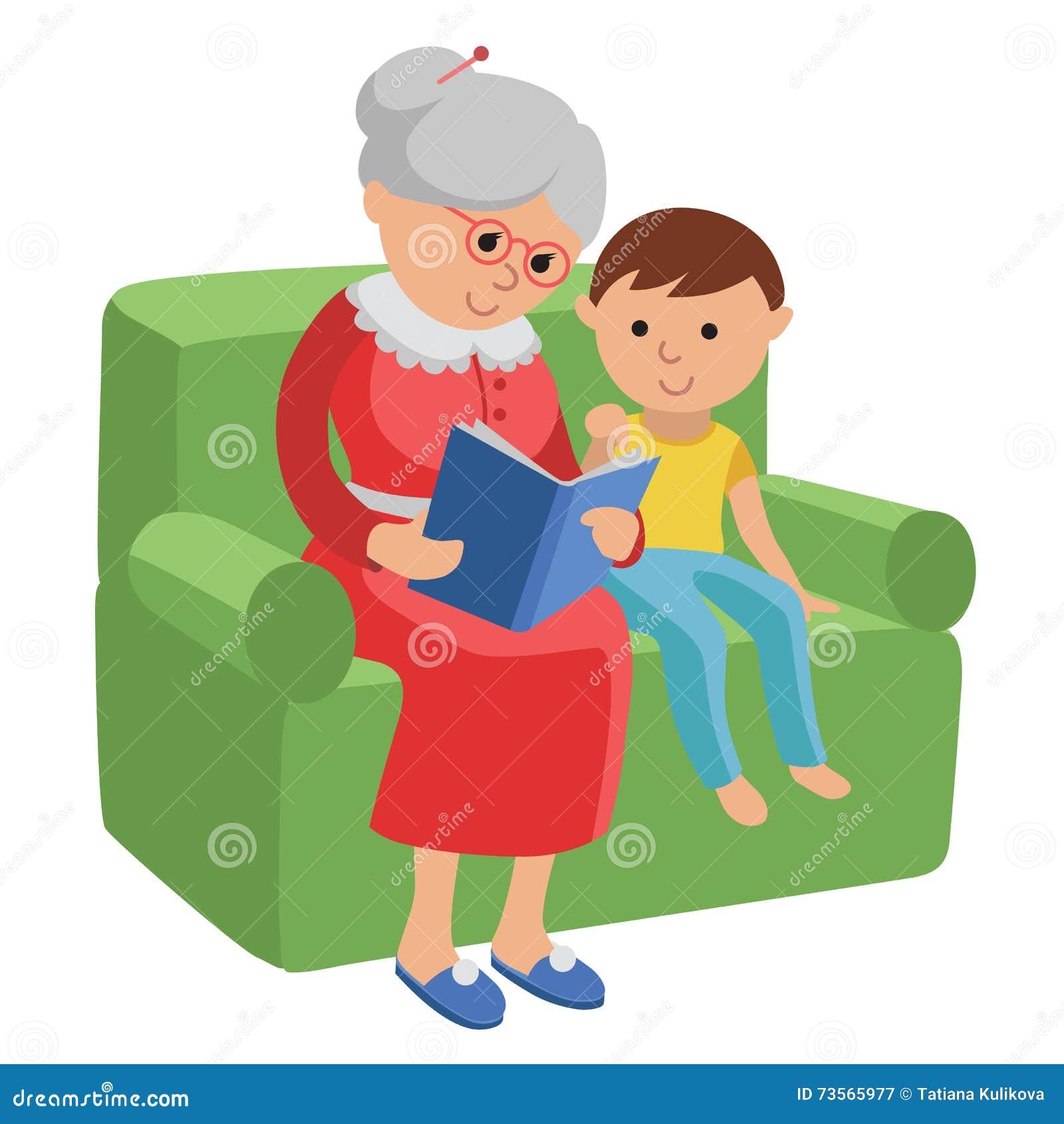 Ilustracja uwypukla starszej kobiety czyta książkę dla wnuka
