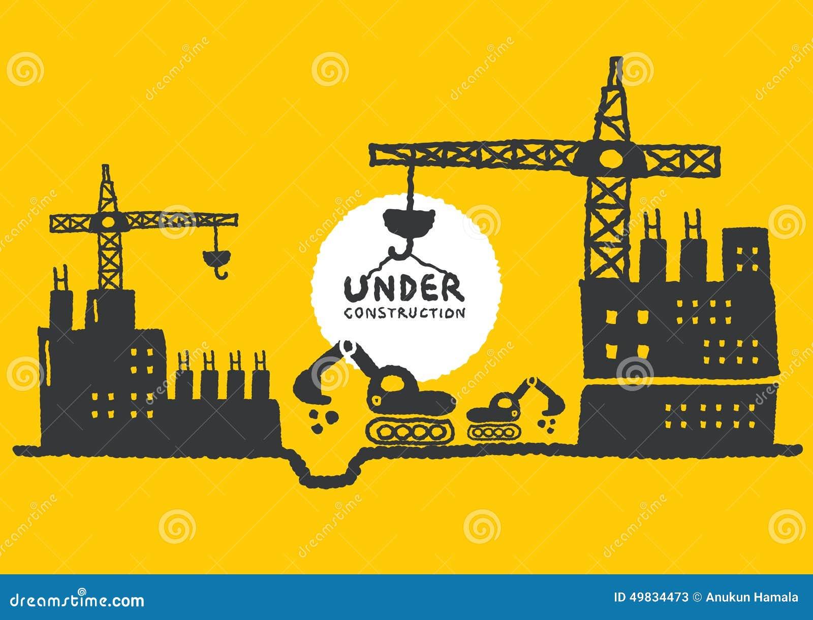 Ilustracja w budowie miejsce z budynkiem