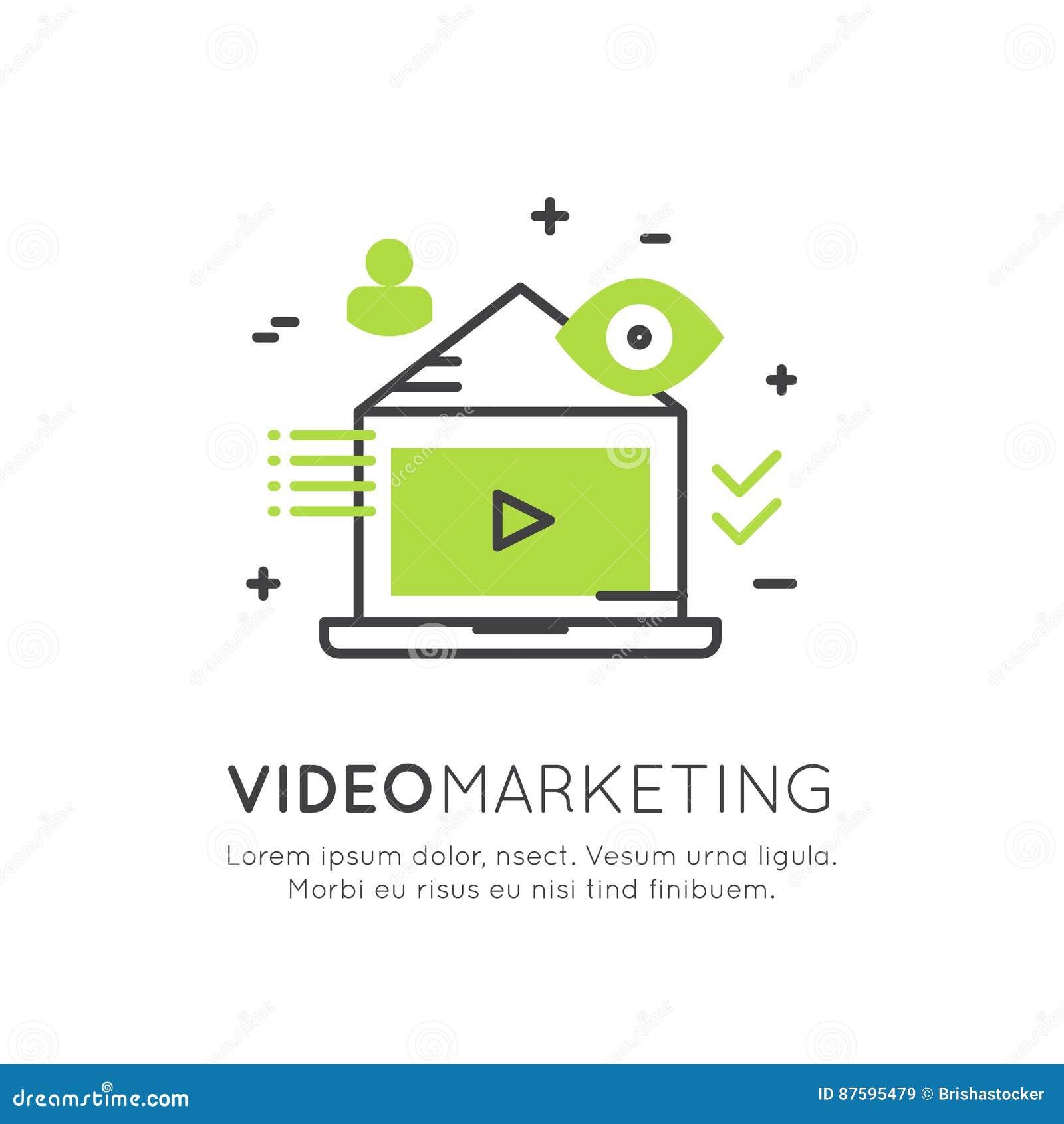 Ilustracja Wideo marketing, Internetowy email, Mobilni powiadomienia, oferta marketing lub Ogólnospołeczna kampania,