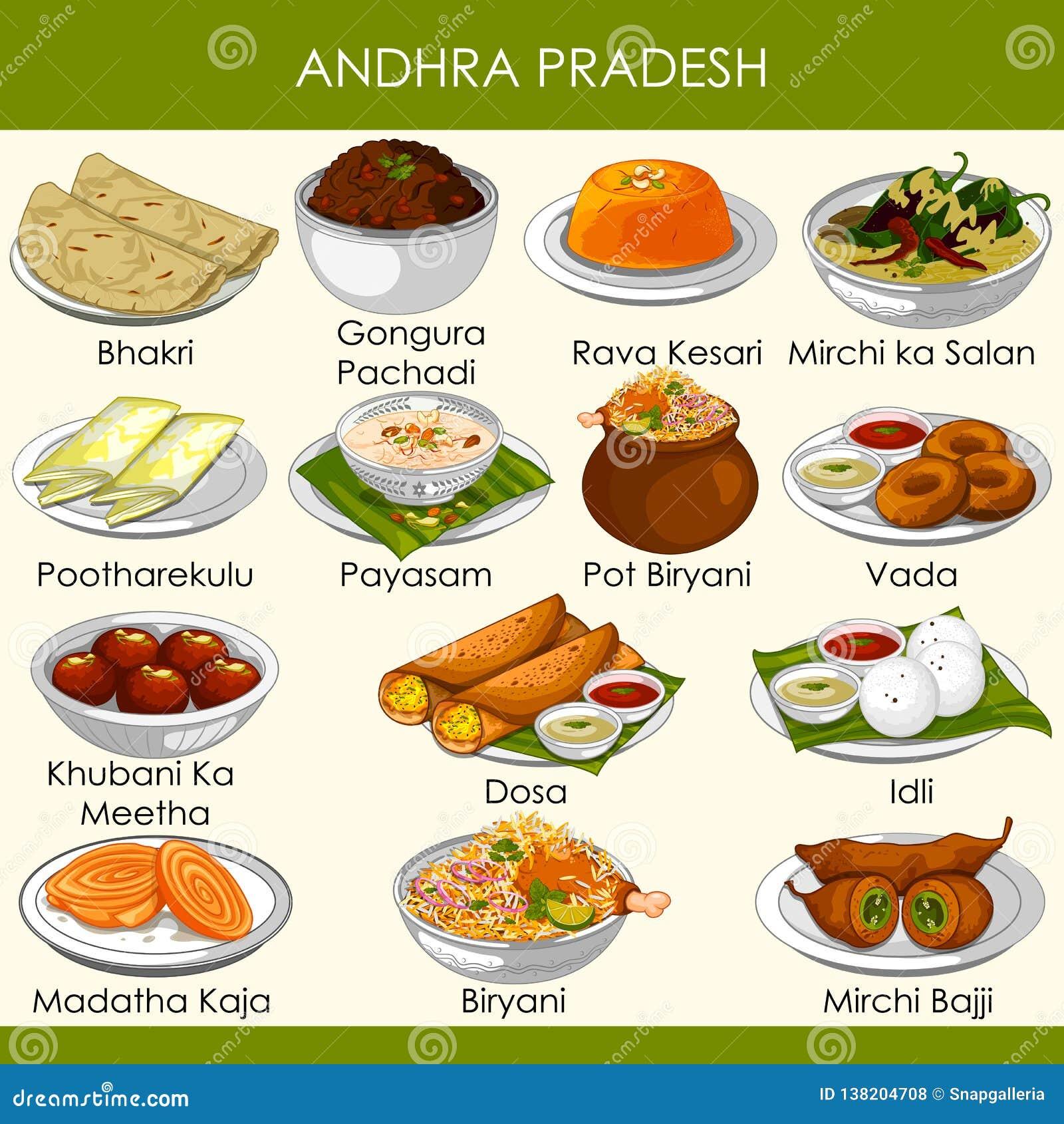 Ilustracja wyśmienicie tradycyjny jedzenie Andhra Pradesh India