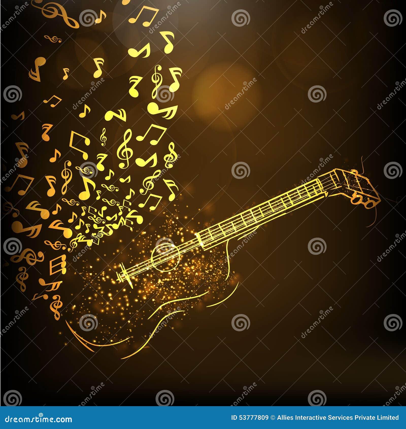 Ilustracja złota gitara z muzykalnymi notatkami
