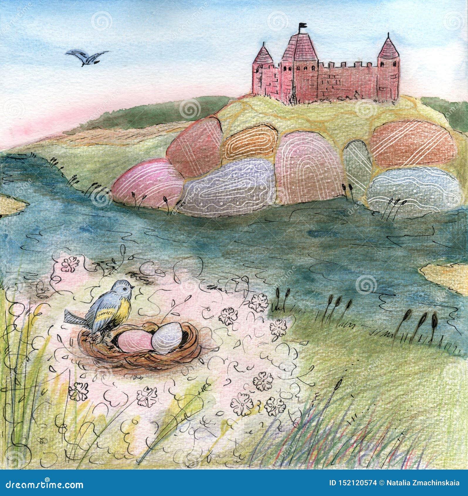 Ilustracja z kasztelem na wzgórzu i ptak gniazdujemy