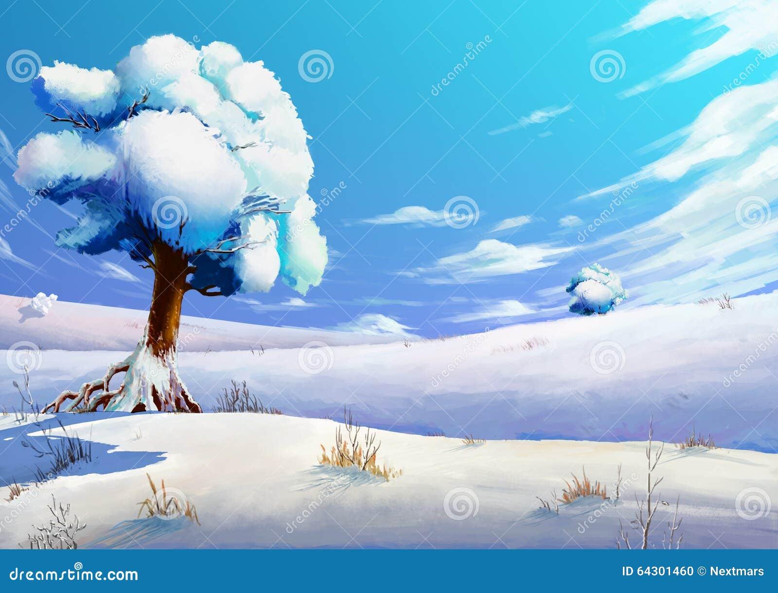 Ilustracja: Zimy Śnieżny pole
