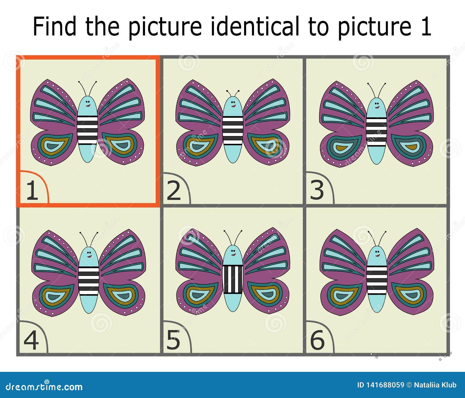 Ilustracja znalezienie Dwa Identycznego obrazka Edukacyjna gra dla dzieci Motyl