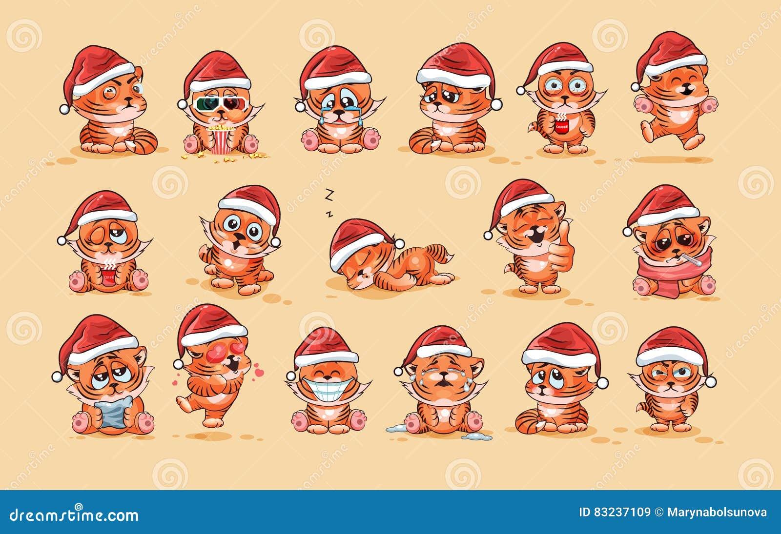 Ilustracje odizolowywali Emoji charakteru kreskówki Tygrysiego lisiątka majcheru emoticons z różnymi emocjami