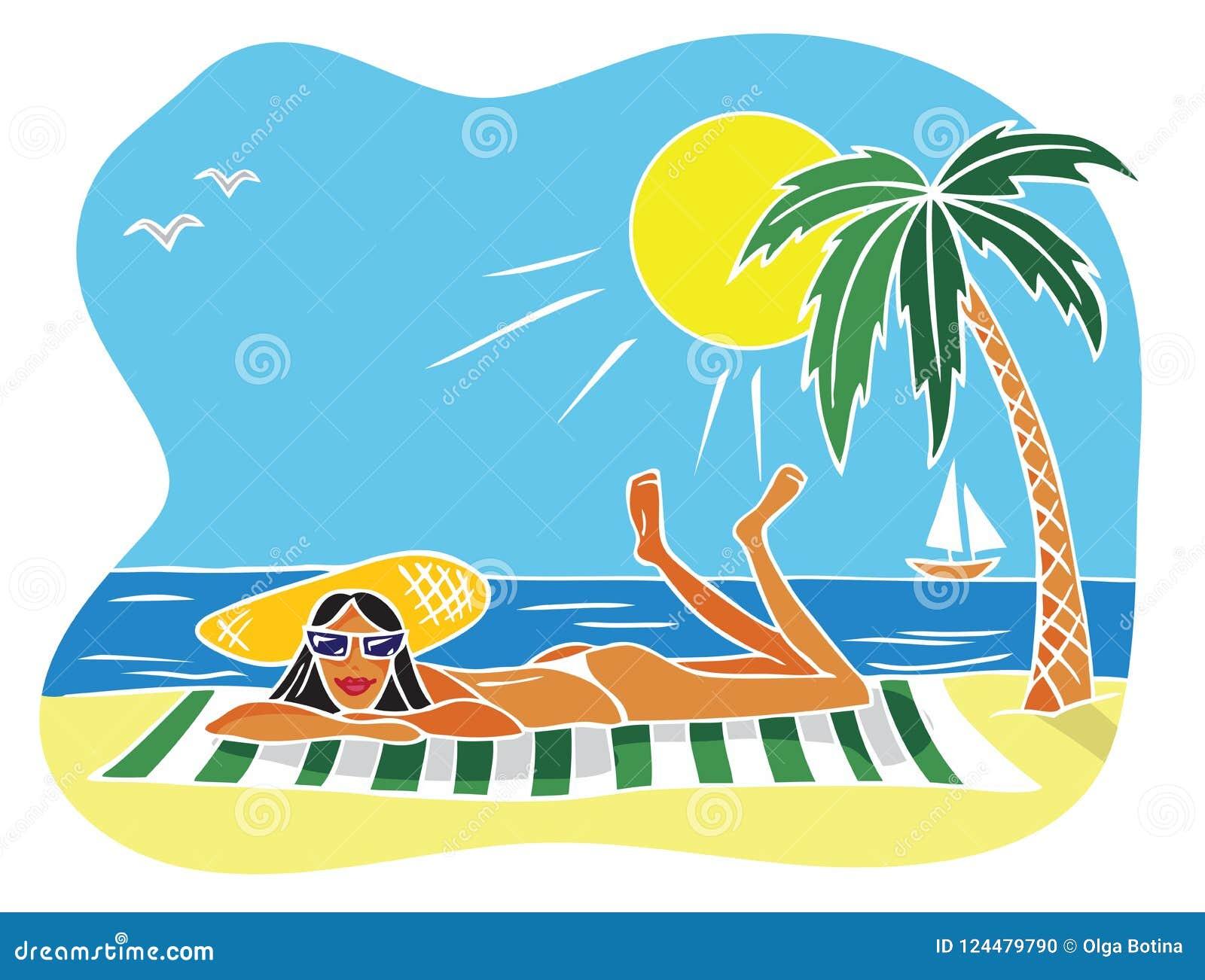 Ilustracyjna kobieta na plaży