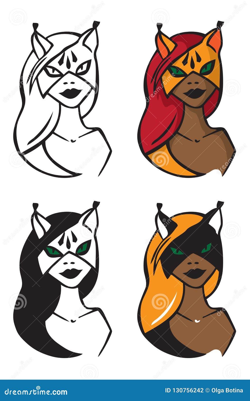 Ilustracyjna kobieta w kot masce