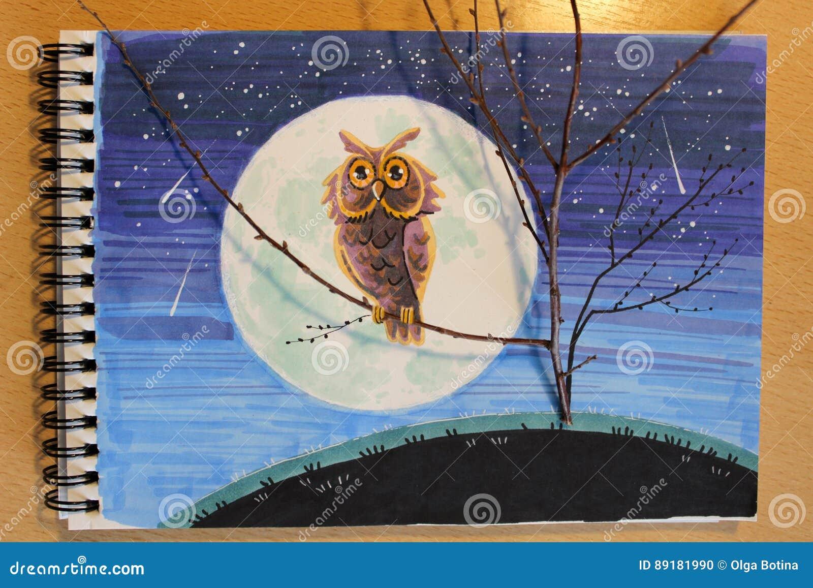 Ilustracyjna sowa przy nocą