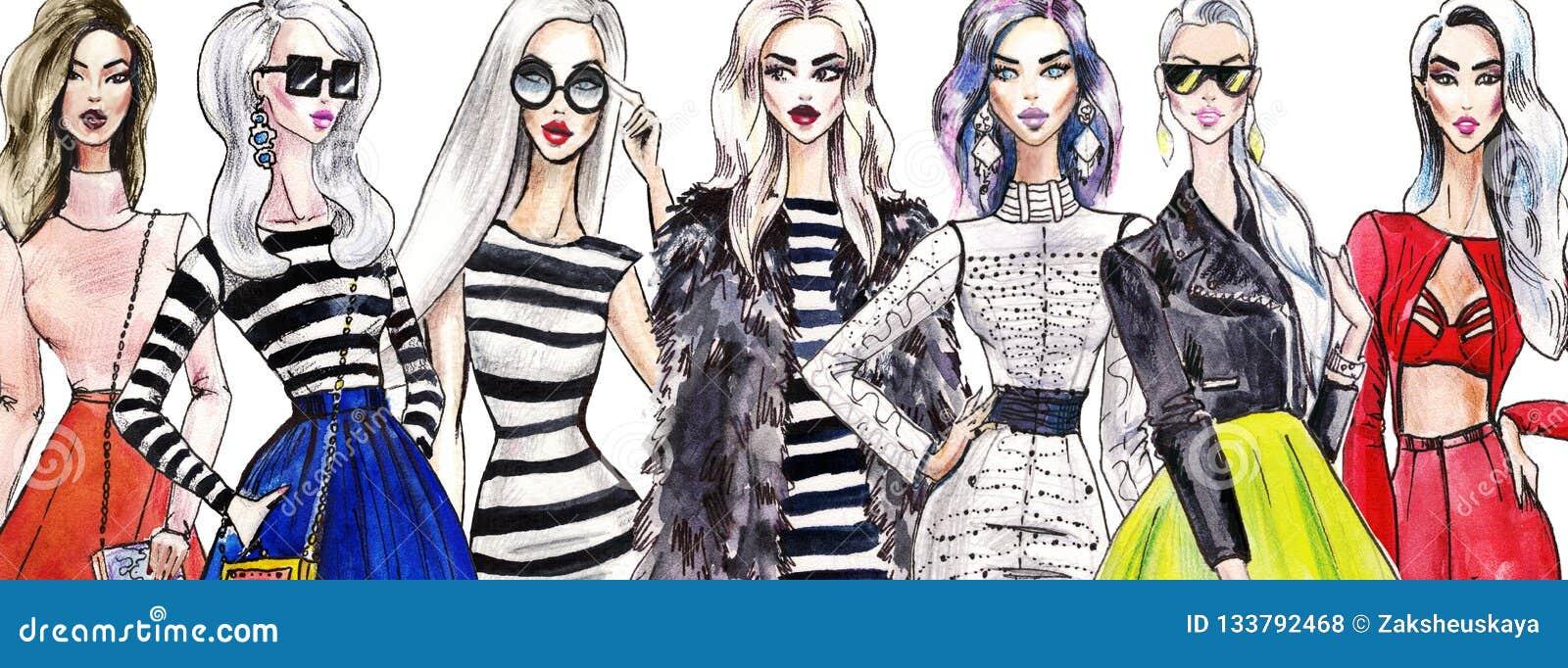 Ilustracyjne modne dziewczyny na zakupy Moda sztuki nakreślenie piękna młoda kobieta w sukni