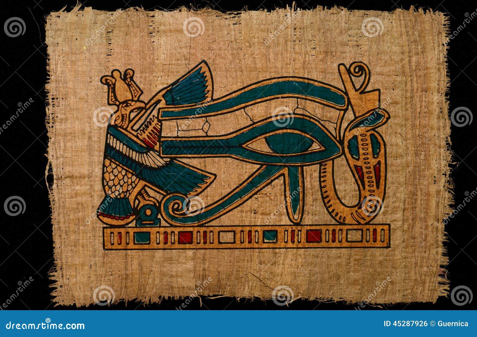 Ilustracyjnego horus antyczny oko na papirusu papierze