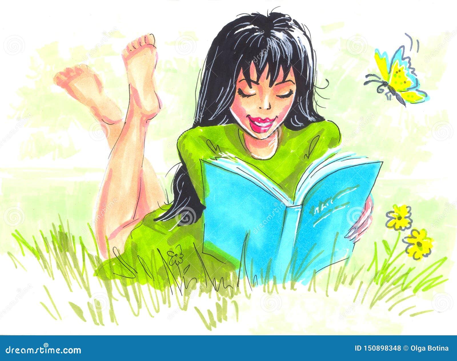 Ilustracyjnej kobiety czytelnicza książka w naturze
