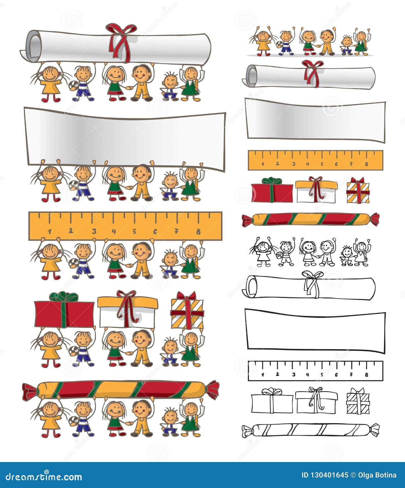 Ilustracyjni przyjaźni dzieci chwyta przedmioty