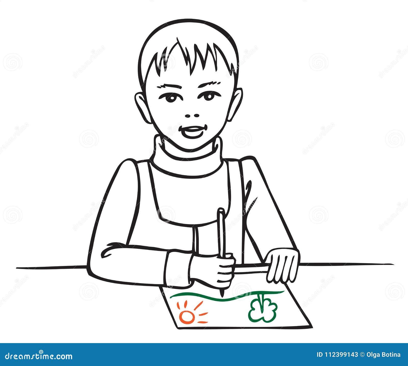 Ilustracyjny chłopiec rysunek