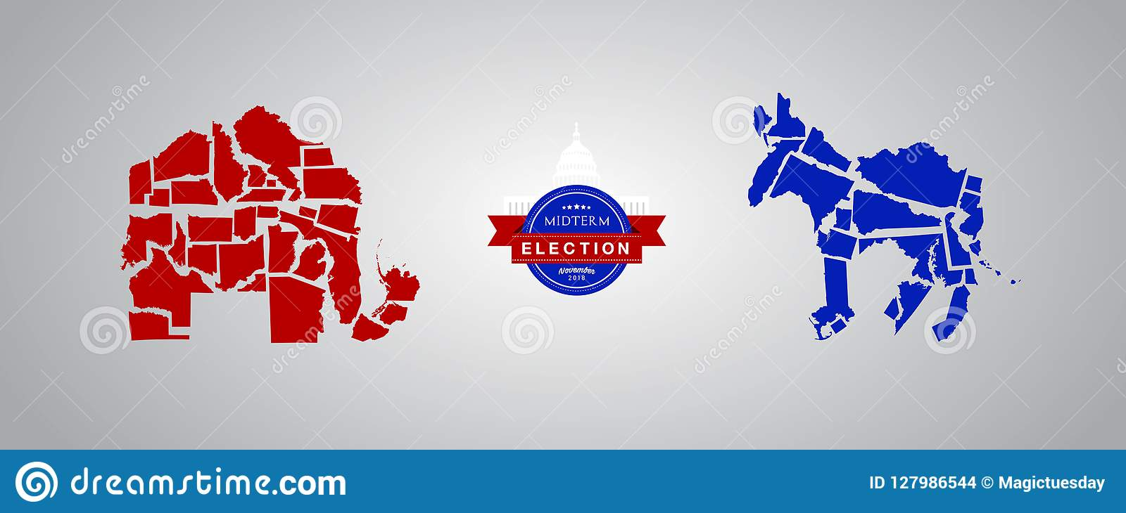 Ilustracyjny pomysł dla połowa semestru wyborów - Republikańscy stany versus Demokrata stany