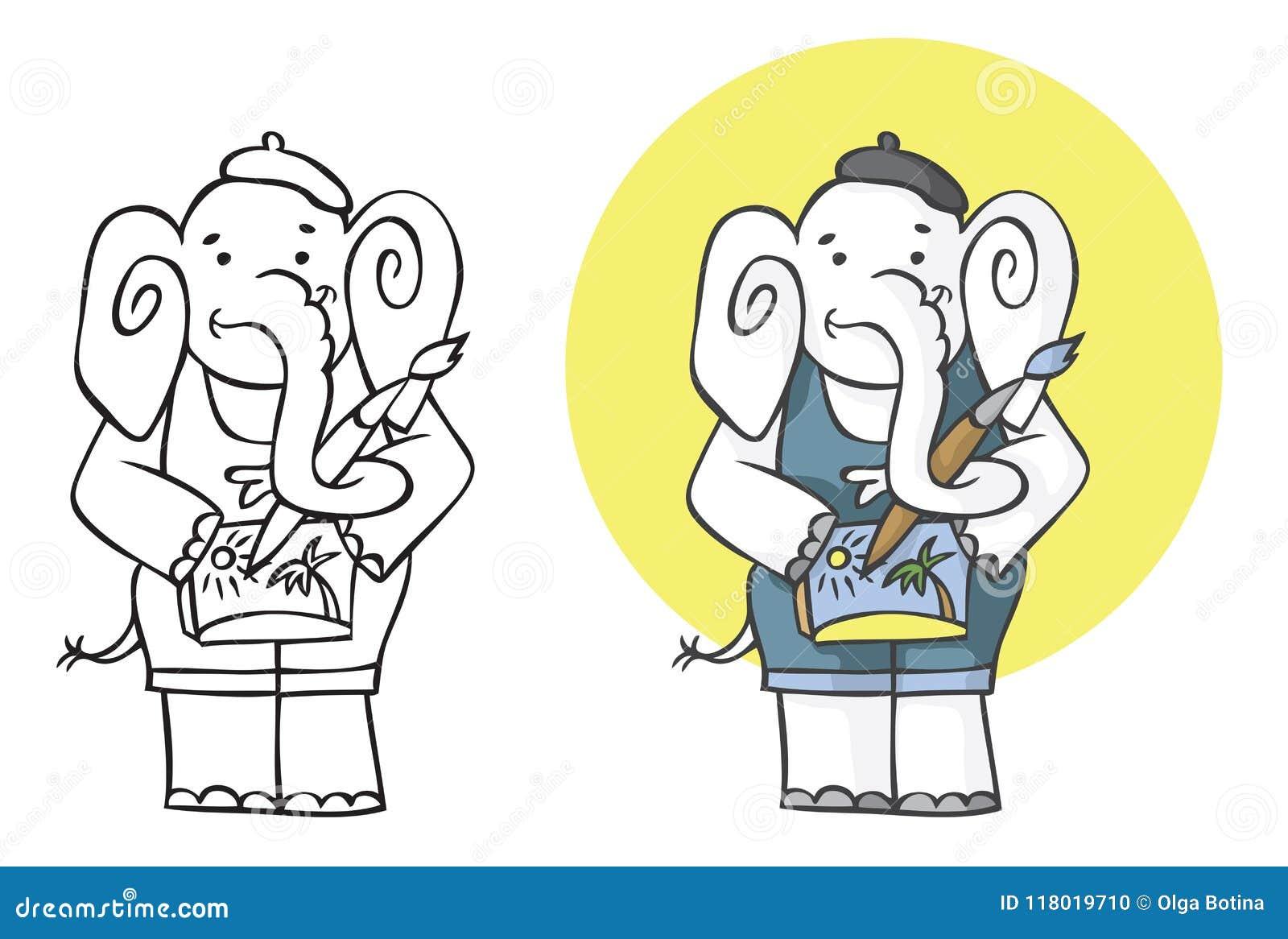 Ilustracyjny słonia artysta