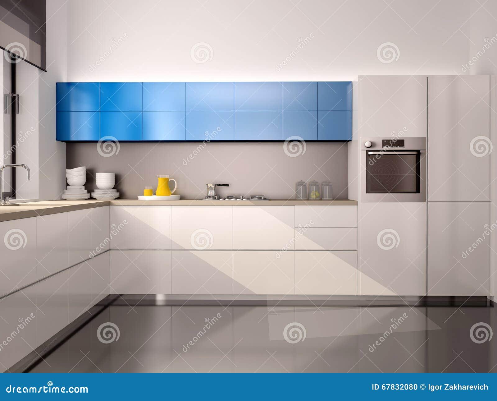 ilustração 3d do interior da cozinha moderna no cinza azul branco  #2071AB 1300 1065