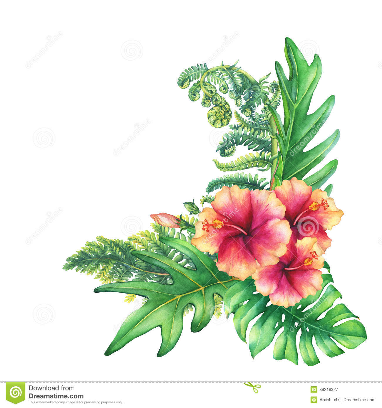 Ilustration Of A Bouquet With Yellow-pink Hibiscus Flowers And ...