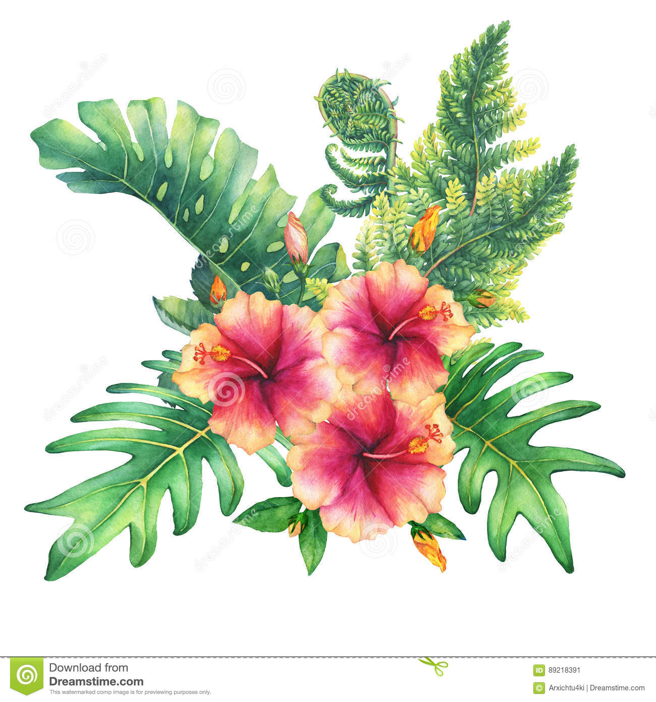 Ilustration Of A Bouquet With Yellow Pink Hibiscus Flowers And