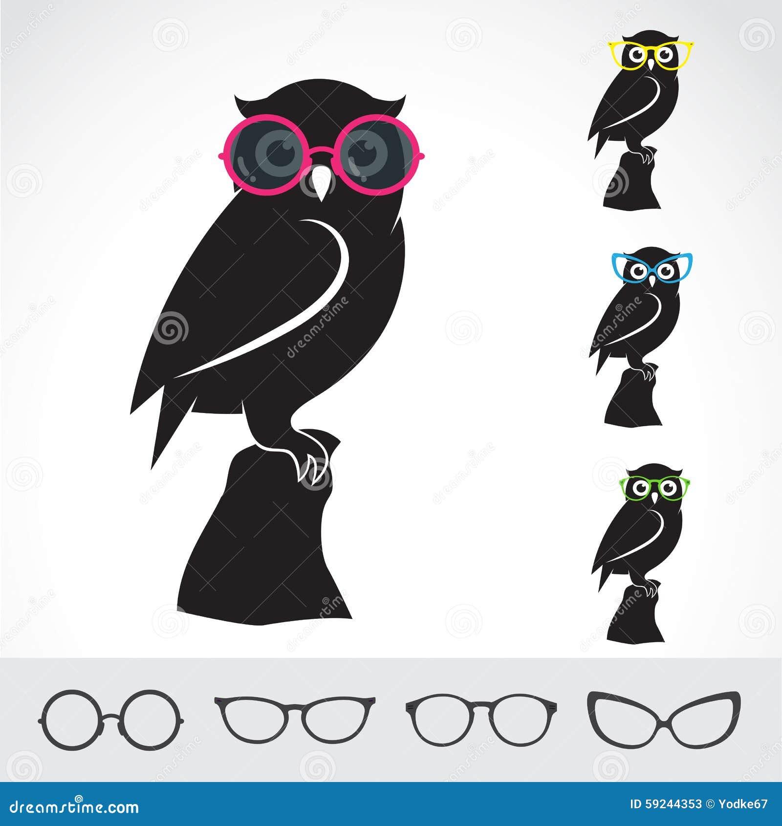Imágenes del vector del búho y de vidrios