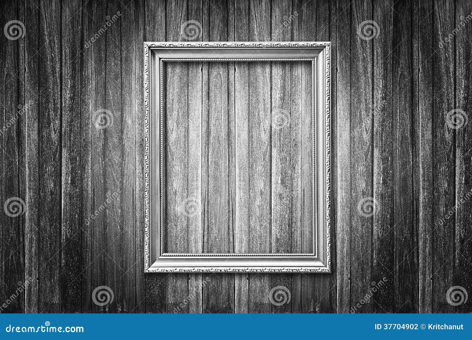 Im Altem Stil Bilderrahmen Auf Dunkler Hölzerner Wand Stockfoto ...