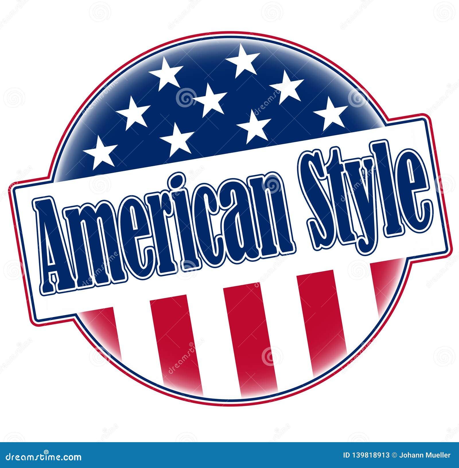 Im amerikanischen Stil runder Ausweisknopf mit Elementen der amerikanischen Flagge