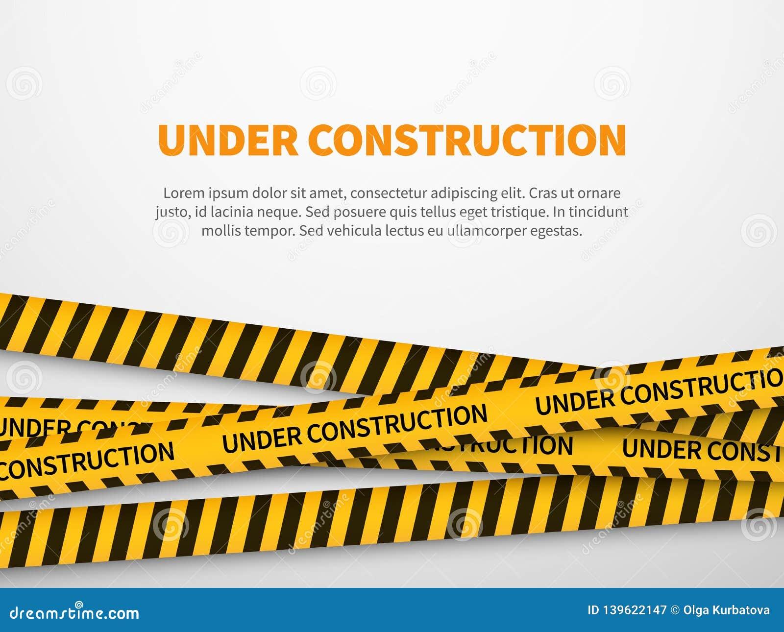 Im Bau Seite Des gelben Hinweiszeile Hintergrundzeichenwebseiten-Sicherheitsvorsicht Bandkonstruktes der Vorsicht