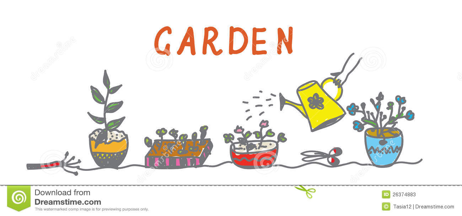 Im Garten arbeitenfahne mit Blumen und Instrumenten