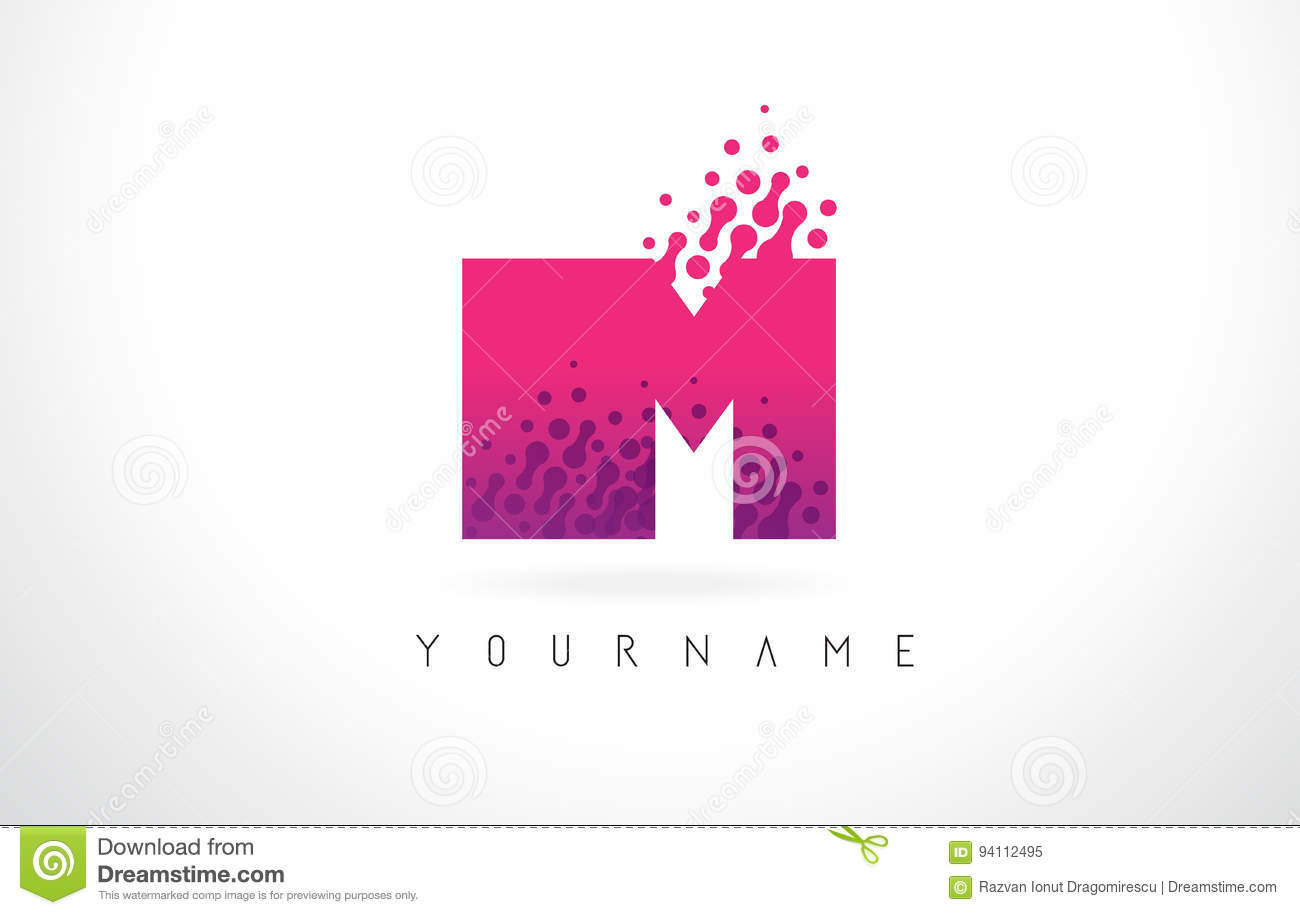 IM I M Letter Logo With Pink Purple Color And Particles Dots Des ...