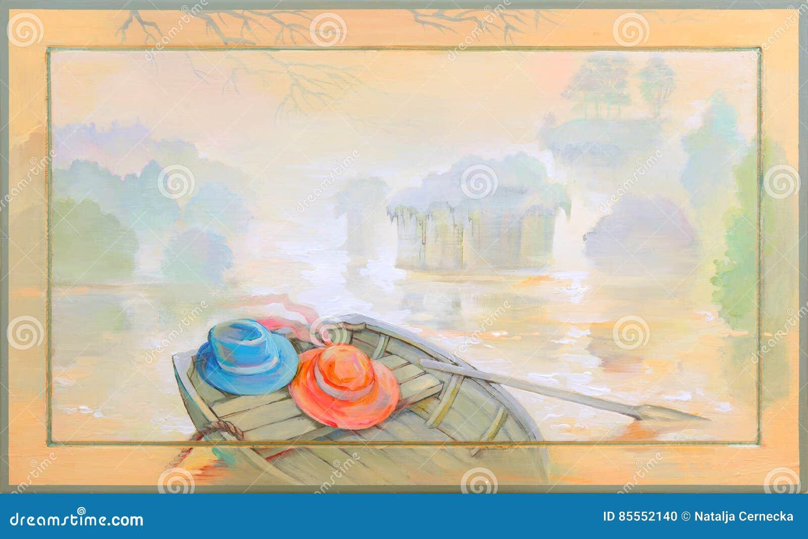 Im Nebel Schöne Landschaft mit einem Boot auf der Flussbank Ölgemälde auf Holz
