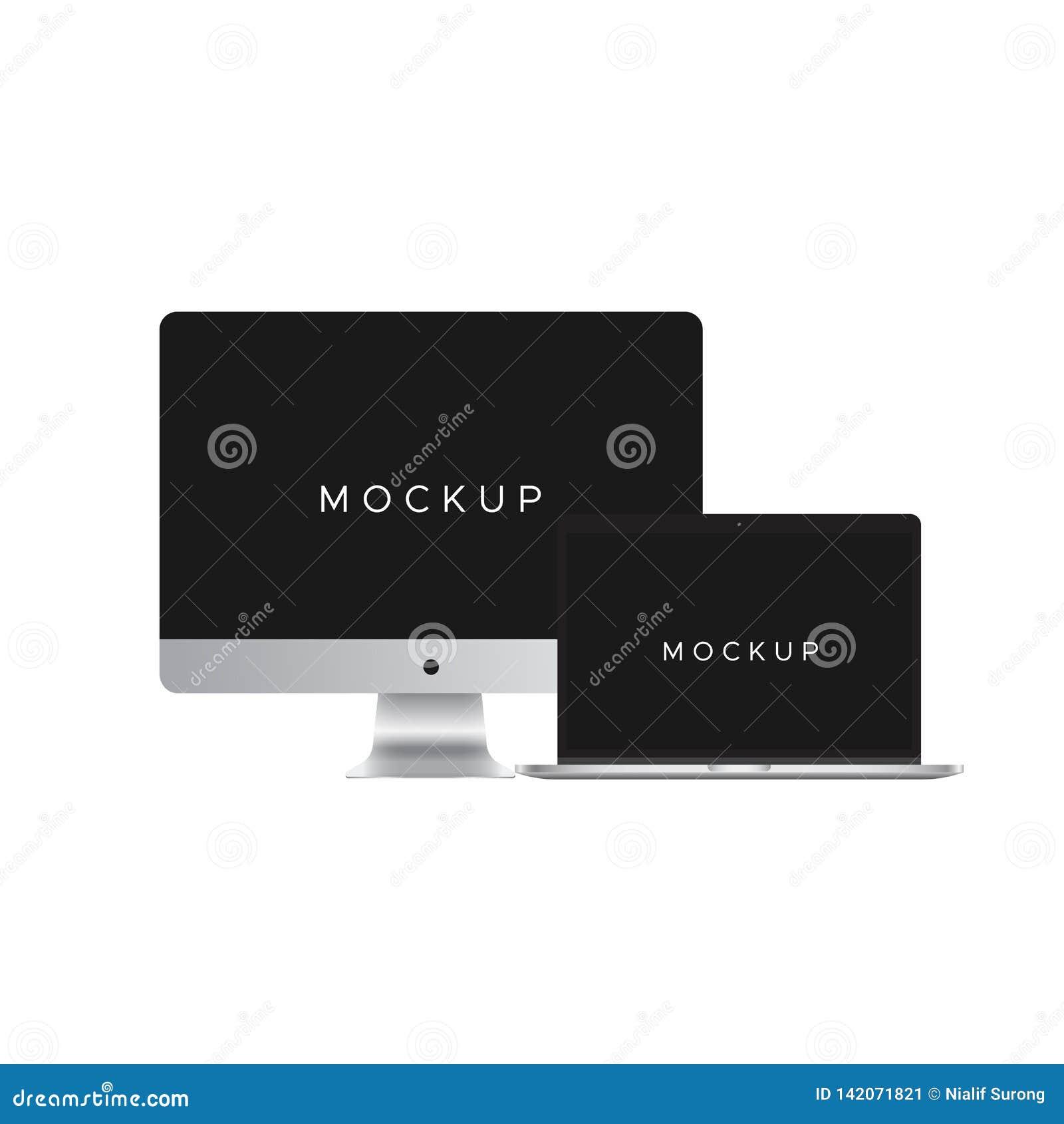 IMac och macbokmodell som isoleras på vit bakgrund