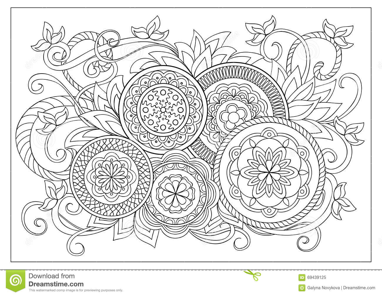 Download Image For Adult Coloring Page Stock Vector