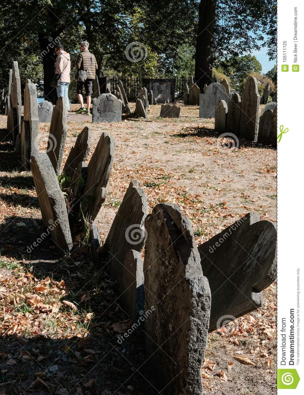 Image of American War of Independence graves seen in a famous Boston cemetery.