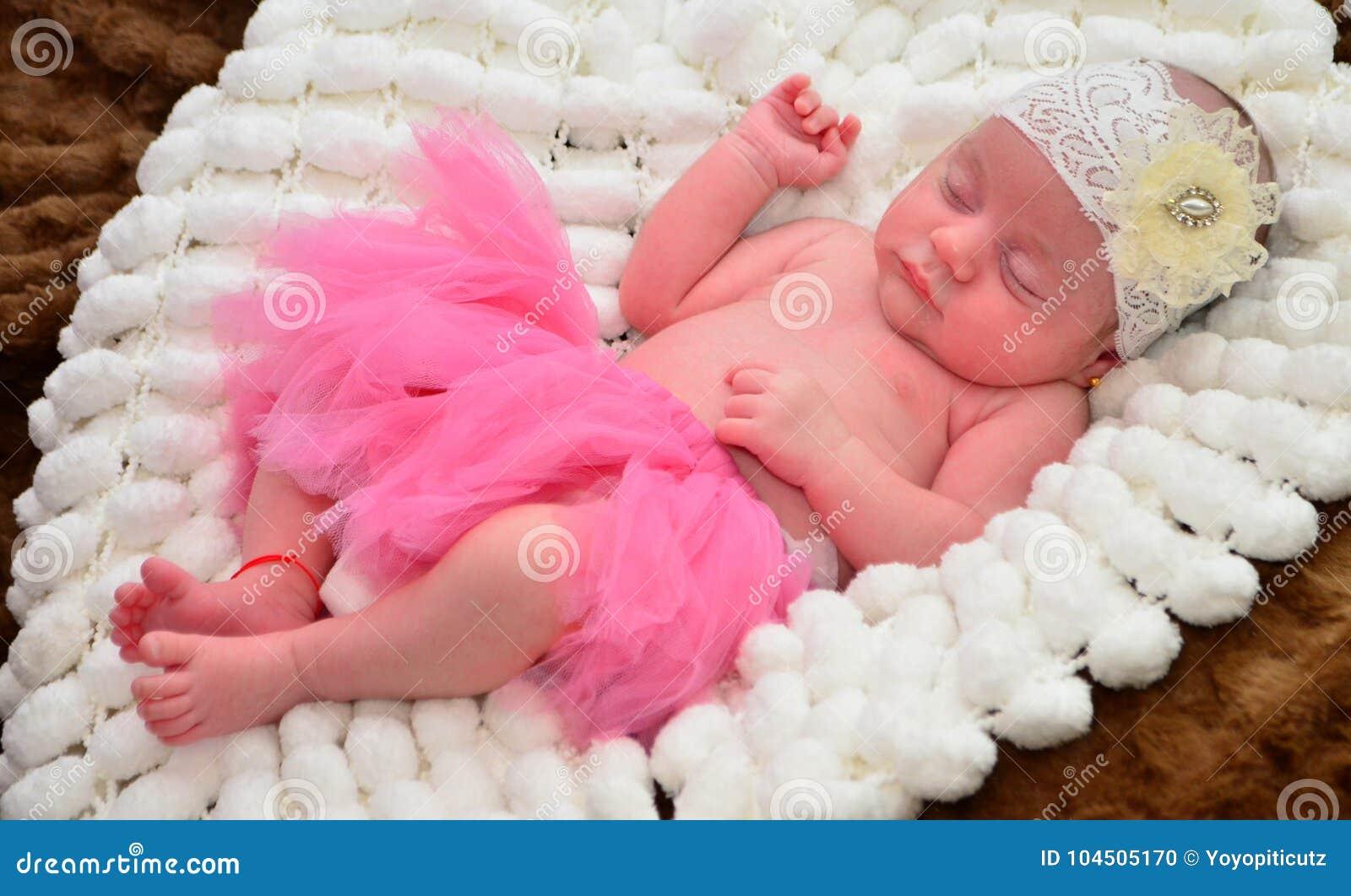 abc078b79 Baby Girl Sleeping During A Photoshoot. Stock Photo - Image of ...