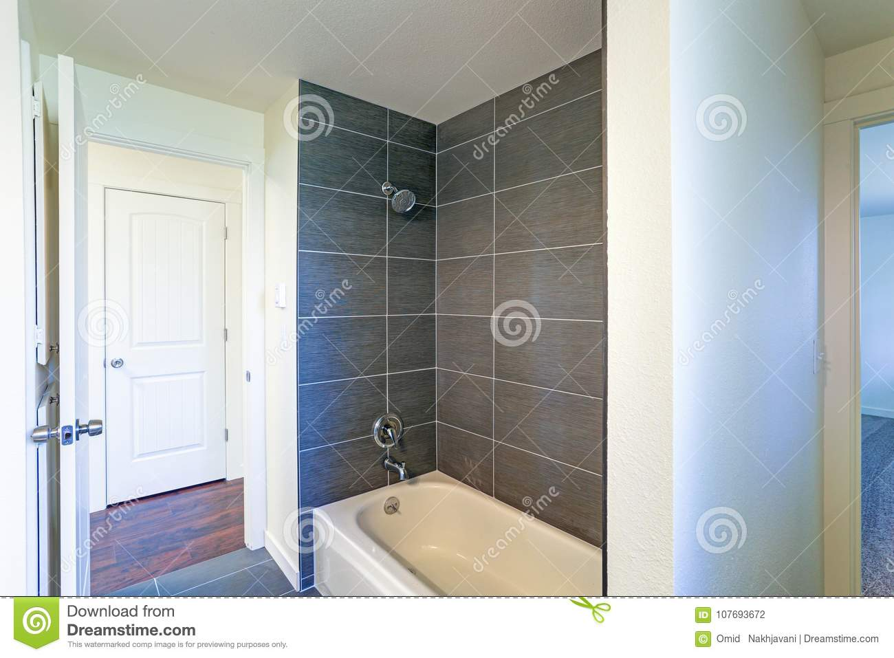 Image Of Bathroom Interior With Tub And Shower Combination Stock ...