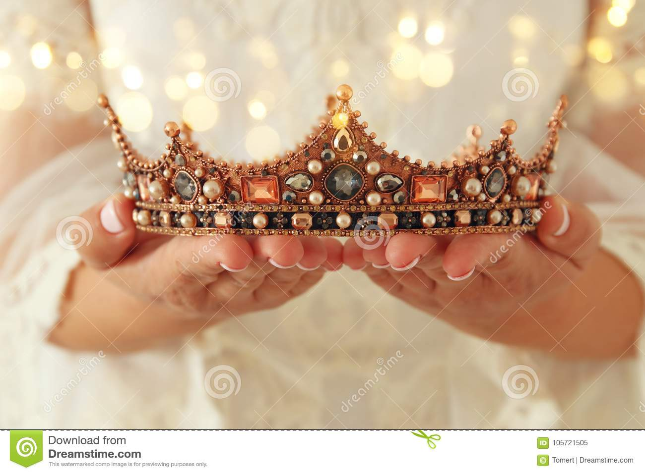 image of beautiful lady with white lace dress holding diamond crown. fantasy medieval period.