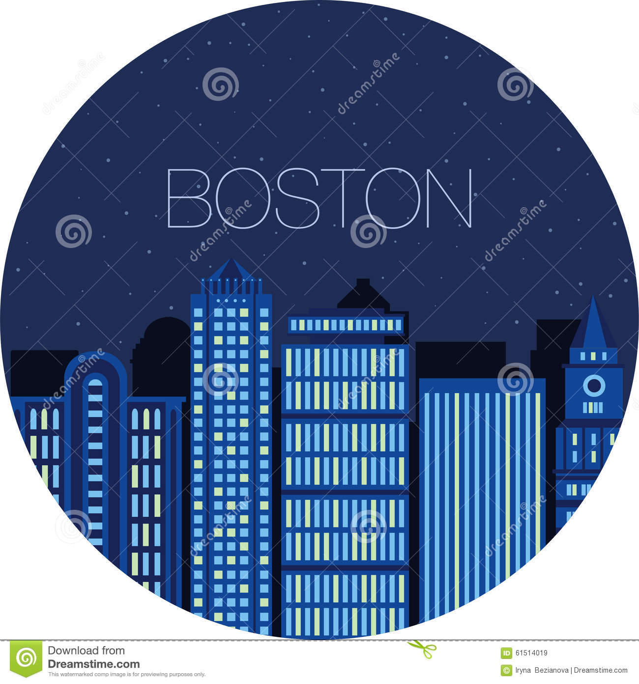 The Image Of The Big City Inside Circle Stock Vector