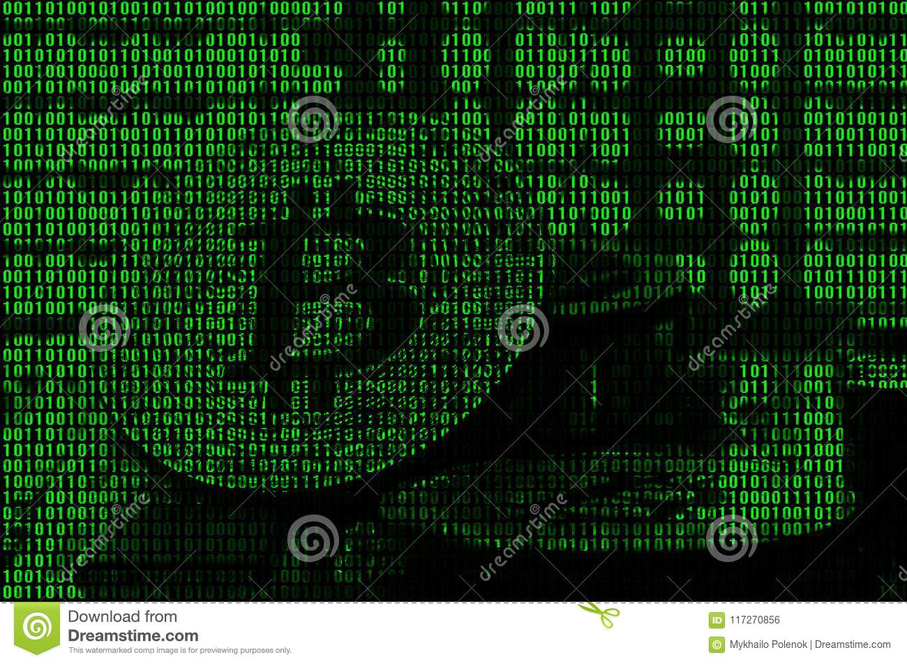 Image Of The Binary Code From Bright Green Digits Through Which The