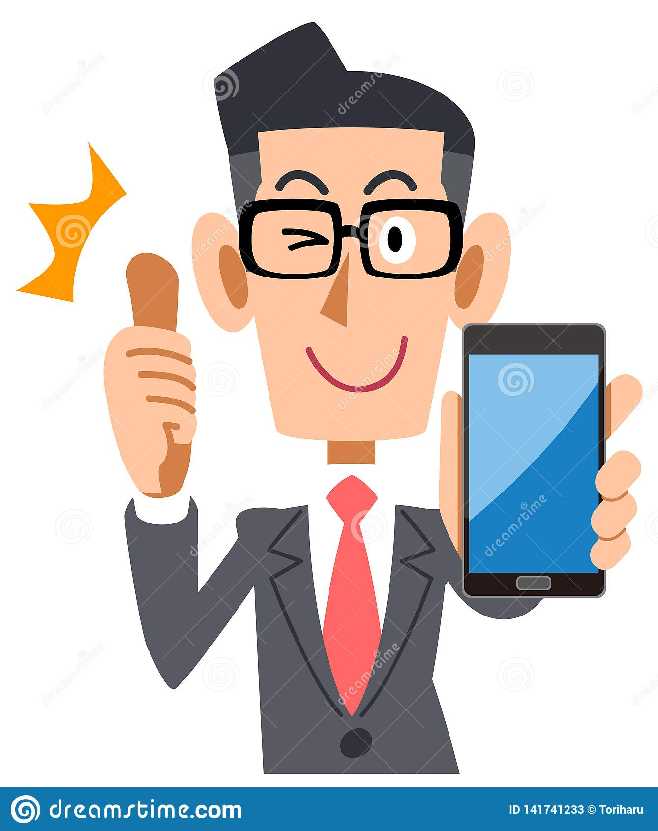 Businessman wearing glasses to thumb up with a smartphone